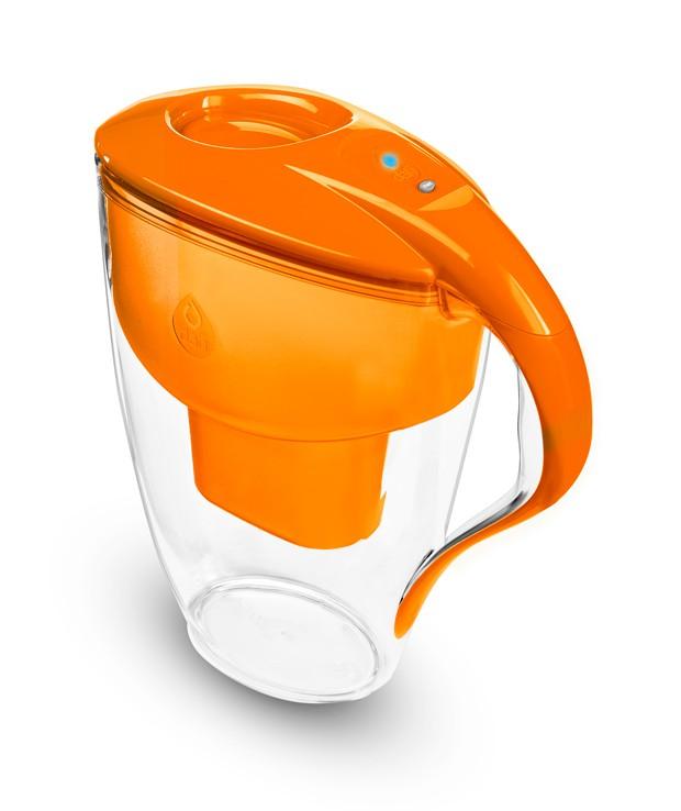 Pomarańczowy dzbanek filtrujący do wody kranowej Dafi Astra Led Unimax