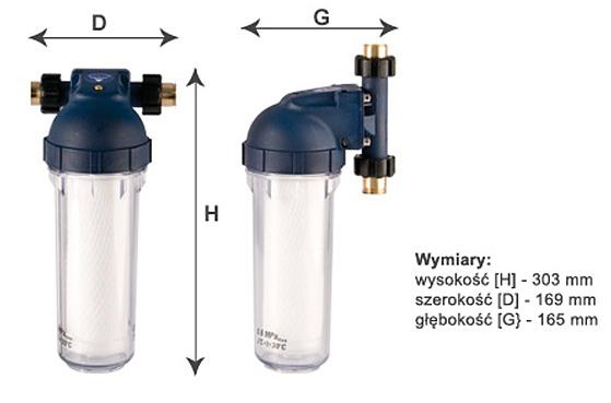 Wymiary przepływowego filtra wody Dafi