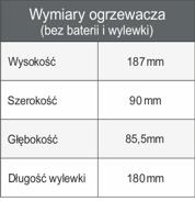 Tabela wymiarów ogrzewacza wody Dafi z baterią białą