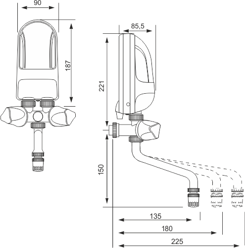 Wymiary techniczne podgrzewacza Dafi z baterią metalową