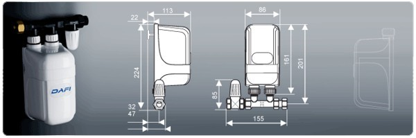 Wymiary ogrzewacza Dafi IPX4 pod zlew