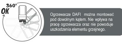 Przepływowy ogrzewacza Dafi w wersji z nyplami można zamontować pod dowolnym kątem