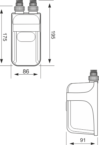 Gabaryty przepływowego ogrzewacza wody Dafi w wersji z nyplami