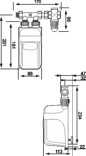 Techniczne wymiary podgrzewacza wody Dafi pod zlew
