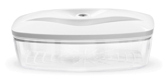 Biały płaski pojemnik próżniowy do przechowywania żywności o pojemności 1,5 l