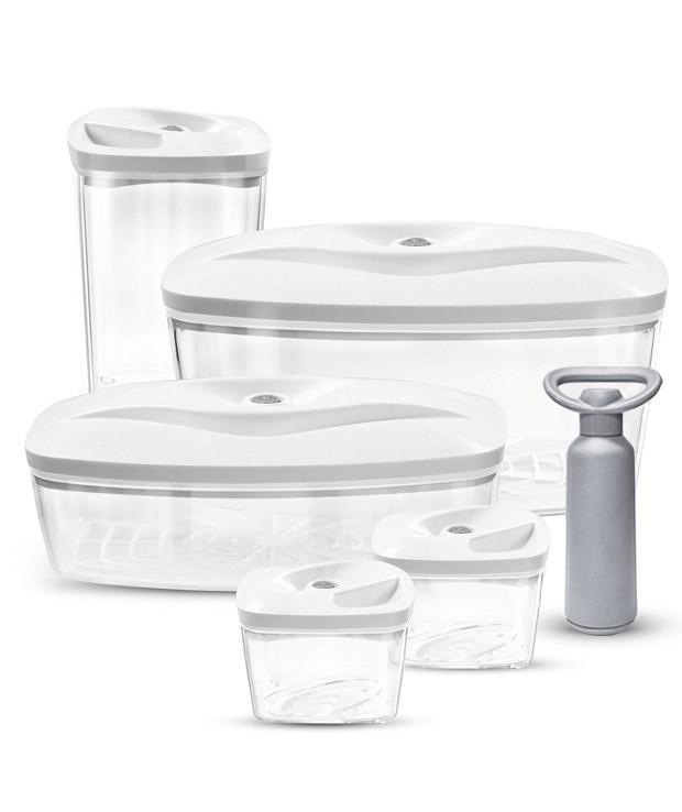 Biały zestaw pojemników próżniowych do pakowania żywności Dafi Vacuum Set 5