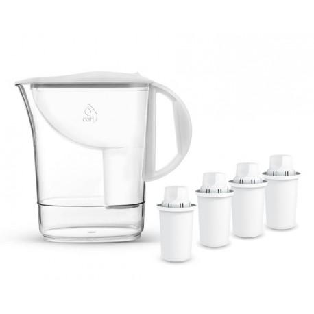 4 wkłady filtrujące Dafi + ATRI 2,4 l Classic Manual biały dzbanek filtrujący Dafi