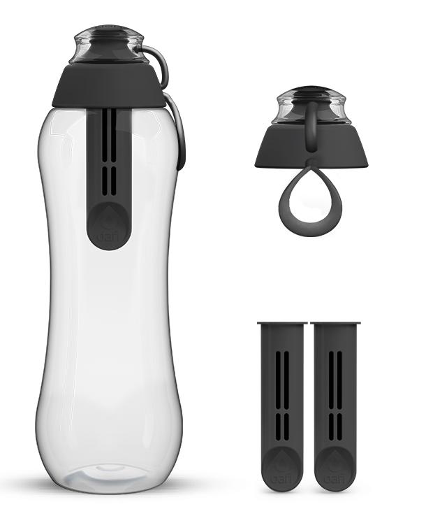 Czarna butelka filtrująca dafi z kompletem filtrujących wkładów zamiennych Dafi
