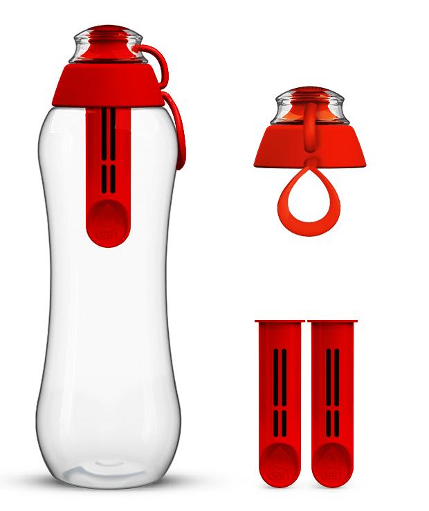 Czerwona butelka filtrująca dafi z 2-pakiem wymiennych wkładów filtrujących