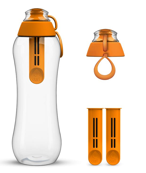 Pomarańczowa butelka filtrująca dafi i zestaw filtrów