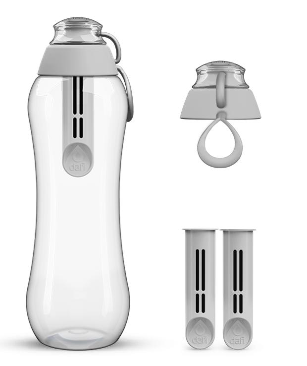 Szara butelka dafi z zapasowym kompletem filtrów
