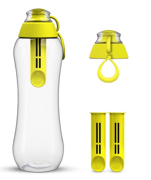 Żółta butelka filtrująca z zestawem wkładów filtrujących