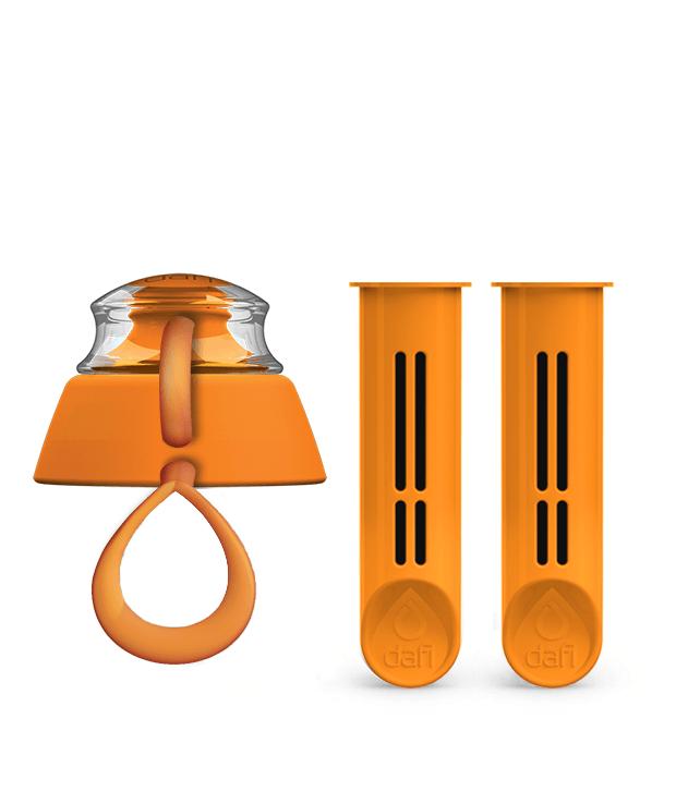 Pomarańczowy zestaw dwóch filtrów do butelki filtrującej Dafi