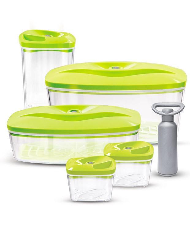 Seledynowy zestaw pojemników próżniowych do pakowania żywności Dafi Vacuum Set 5